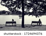 a woman alone and a man alone ... | Shutterstock . vector #1724694376