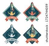 rocket start in space vintage... | Shutterstock .eps vector #1724744059