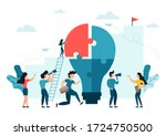 people connecting puzzle... | Shutterstock .eps vector #1724750500