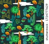 cactus seamless pattern. exotic ...   Shutterstock .eps vector #1724777629
