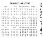 set of 300 outline icons  ... | Shutterstock .eps vector #1724778586