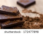 dark chocolate with cocoa on... | Shutterstock . vector #172477898