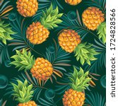 Pineapples With Palm Leaves On...