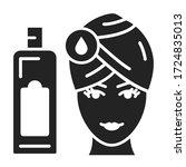 washing head black glyph icon....