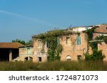 Country landscape at summer along the via Emilia near Forli. Ruins