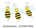big set of cartoon cute bee... | Shutterstock .eps vector #1724874286