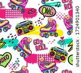 hand drawn cute girls pattern... | Shutterstock .eps vector #1724901340