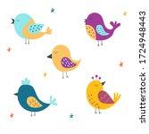 set of cute birds. vector...   Shutterstock .eps vector #1724948443