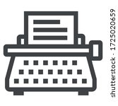 typewriter black icon on white... | Shutterstock .eps vector #1725020659