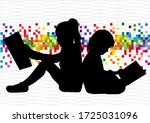 silhouettes of people with a... | Shutterstock . vector #1725031096