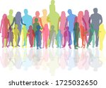 family of silhouettes.... | Shutterstock . vector #1725032650