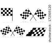 icons showing a race checkered... | Shutterstock . vector #172505120