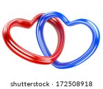 two red and blue hearts  shape isolated on a white background - stock photo