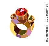 gold ring with a red ruby in... | Shutterstock .eps vector #1725089419