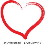 red heart   outline drawing for ... | Shutterstock .eps vector #1725089449