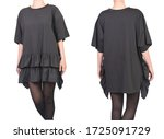 girl in a short black dress t... | Shutterstock . vector #1725091729