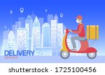 scooter city delivery box. walk ... | Shutterstock .eps vector #1725100456