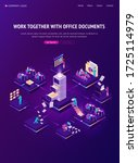 work with documents isometric...   Shutterstock .eps vector #1725114979