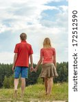 happy couple holding hands  | Shutterstock . vector #172512590