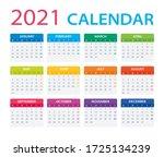 2021 calendar   vector... | Shutterstock .eps vector #1725134239
