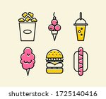 vector set of color fast food... | Shutterstock .eps vector #1725140416