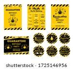quarantine birthday set home...   Shutterstock . vector #1725146956