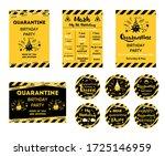 quarantine birthday set home... | Shutterstock .eps vector #1725146959