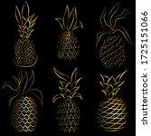 golden pineapples isolated... | Shutterstock .eps vector #1725151066