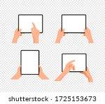 human gesture using tablet...   Shutterstock .eps vector #1725153673