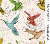 colored drawn birds and flowers ... | Shutterstock .eps vector #1725190789
