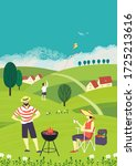 family barbecue countryside...   Shutterstock .eps vector #1725213616