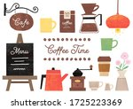 a cute illustration of a cafe... | Shutterstock .eps vector #1725223369