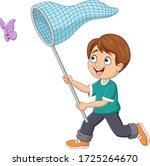 cartoon boy catching a butterfly | Shutterstock .eps vector #1725264670