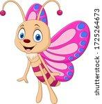 cartoon funny butterfly... | Shutterstock .eps vector #1725264673