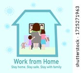 woman is working from home and... | Shutterstock .eps vector #1725271963