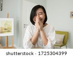 laughing business woman working ... | Shutterstock . vector #1725304399