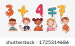 funny kids with number balloons.... | Shutterstock .eps vector #1725314686