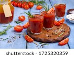 Thick Red Juice In Glass With...