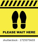 please wait here sign  decal or ... | Shutterstock .eps vector #1725373633
