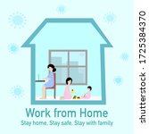 woman is works from home by... | Shutterstock .eps vector #1725384370