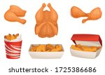 fried chicken meat with wings... | Shutterstock .eps vector #1725386686