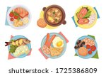 meal served on plate with... | Shutterstock .eps vector #1725386809