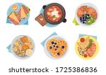 meal served on plate with... | Shutterstock .eps vector #1725386836