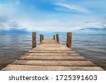 Perspective view of wooden pier ...