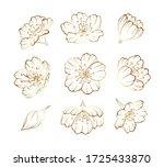 golden outline sakura flowers ... | Shutterstock .eps vector #1725433870