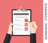 survey form with pencil vector... | Shutterstock .eps vector #1725439573