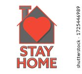 stay home icon. flat style.... | Shutterstock .eps vector #1725446989