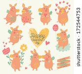 nine cute pigs angels with... | Shutterstock .eps vector #172544753