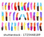 human bright colored hands with ... | Shutterstock .eps vector #1725448189