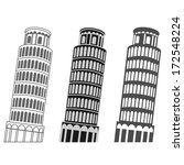 vector leaning tower of pisa set | Shutterstock .eps vector #172548224